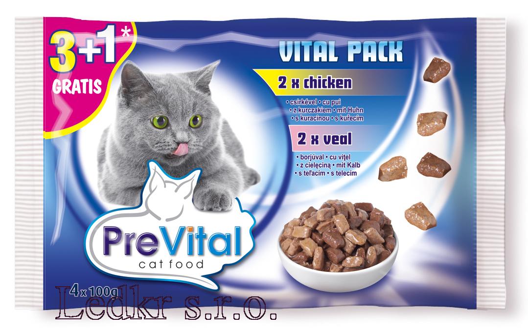 PreVital kapsa kočka 4x100g-kuře+telecí /13/