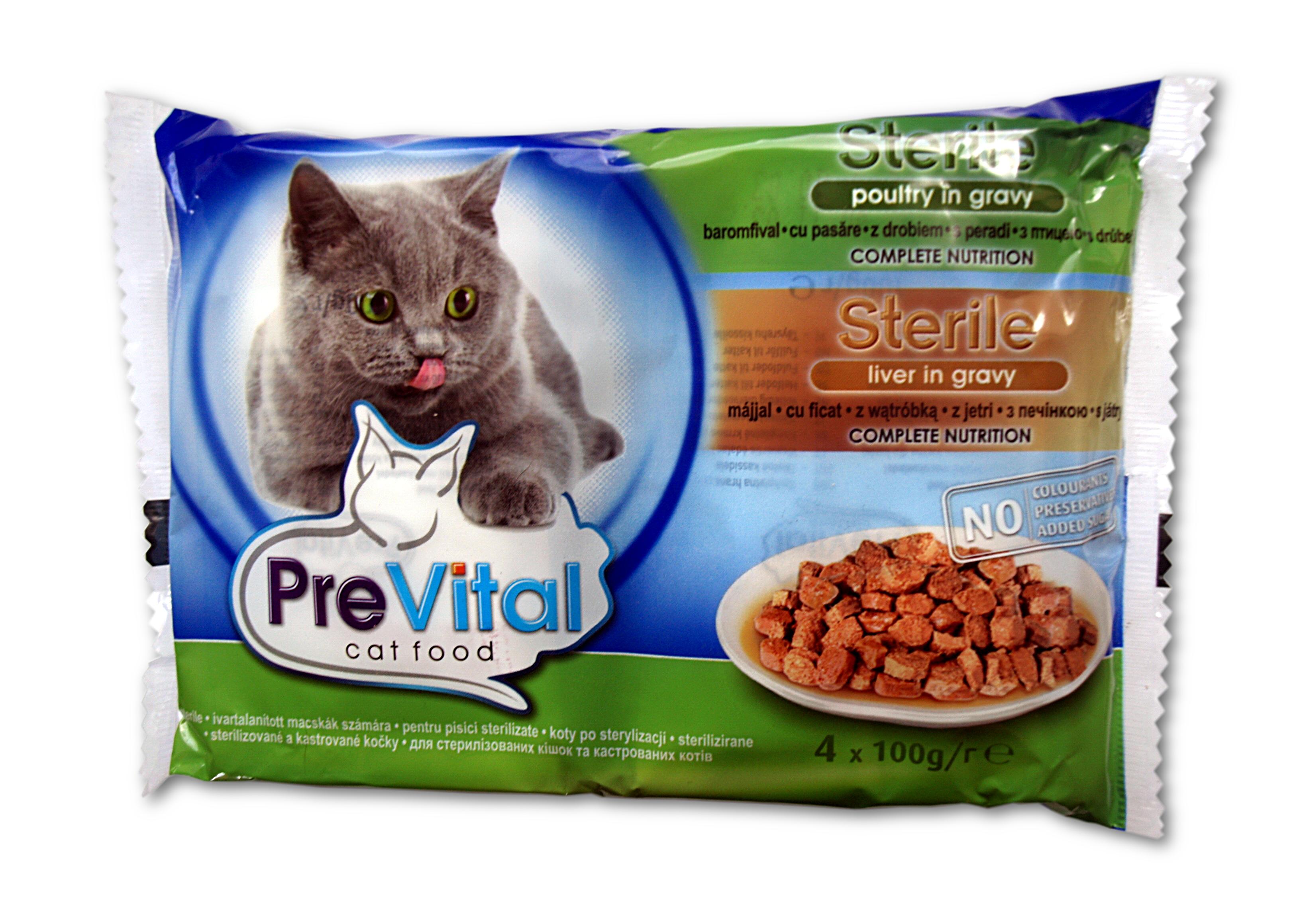 Prevital kapsa pro sterilní kočky 4x100g játra a drůbež v omáčce